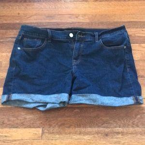 """Midrise dark wash jean shorts. 5"""" inseam."""